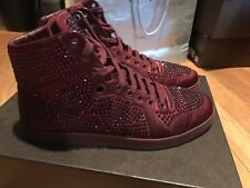 9d6c4a5d8ba4 Gucci High Top Sneakers Crystal Studs Rare Red Satin 337450 Size G 08 41 US