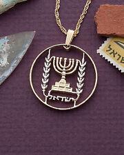 """Israel Menorah I/2 Lirot Coin Pendant Necklace. Hand Cut - 1"""" diameter ( # 188 )"""