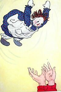Raggedy Ann 1947 RAG DOLL THROWN UP in AIR Matted CHILDREN CHILD'S ROOM Print