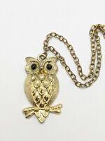 Vintage Gold Tone Owl Black Rhinestone Pendant Necklace