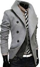 US SELLER Men's Gray Peacoat Single Breasted Dress Jacket Pea Coat M