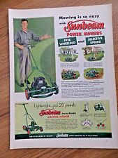 1957 Sunbeam Lawn Mowers Ad Free Wheeling & Selective Speeds