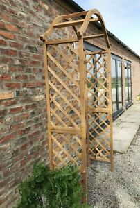 Wooden Garden Arch Plant Support Timber Pergola Archway Tan Wood