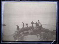 Francia Niños Borde Del Mar Foto c1930 Negative Placa De Cristal Vintage VR