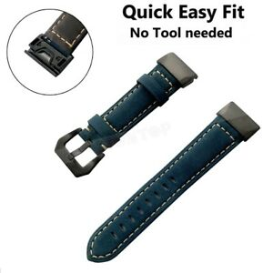 Quick Fit Genuine Leather Strap Band For Garmin Fenix 3 5 5X Plus 6 6X 6S Pro