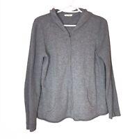 Eileen Fisher Organic Cotton Cashmere Knit Zip Jacket Gray Casual Loungewear M