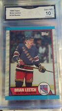 1989 TOPPS 136 BRIAN LEETCH ROOKIE RC GMA 10 GEM MINT💎 NY RANGERS NHL HOCKEY!