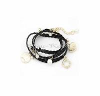 Bettelarmband Wickelband mit Strass Perlen Herz Anhänger Flecht Armband Schwarz
