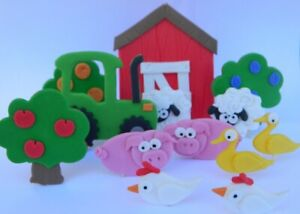 13pc EDIBLE farm TRACTOR barn TREES sheep CAKE TOPPER decorations COMPLETE KIT
