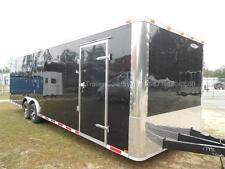 New 2022 85 X 28 85x28 Black Enclosed Race Cargo Car Hauler Trailer Loaded