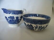 Vintage  Alfred Meakin 'Old Willow' Milk Jug & Sugar Bowl – Ref  2132