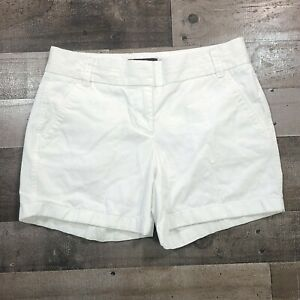 J.CREW White Adult Womens Size 2 Regular Solid Flat Front Casual Chino Shorts