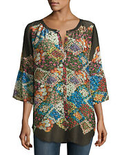 NWT Johnny Was Button Front Floral Print Tempo Rayon Tunic 3/4 Sleeve - 1X