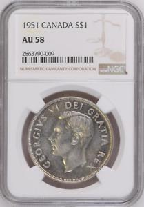 :1951 S$1 SILVER DOLLAR GEORGE-VI CANADA KM# 46 NGC AU 58 LOW POP HIGHEST-GRADES