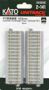 "Kato HO Scale UniTrack Code 83 Concrete Tie 123mm Straight 4 7/8"" (4 Pcs) 2-141"