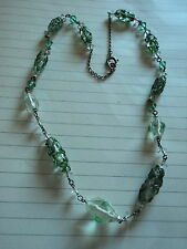 Bead Necklace On Chain With Givre Beads Pretty Art Deco Green & Clear Glass