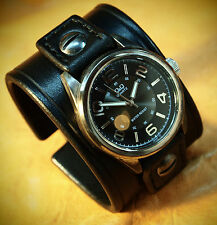 Leather Cuff Watch scribed Rock bracelet wristband Matara Custom Made in NYC USA