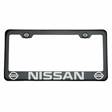 Black Chrome Fit Nissan Titanium GunMetal Laser Engrave T304 License Plate Frame