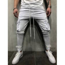 Hombre Corte Slim Pantalón de Chándal Skinny Deportes Pantalones Largos Runing