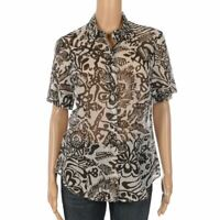 HABELLA Shirt Brown White Pattern Sheer Size 40 UK 14 LA 21