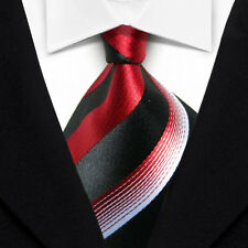 DT065 Black Red White Striped Classic Woven Jacquard 100%Silk Necktie Men's Tie