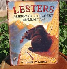 LESTERS AMERICAS CHEAPEST AMMO Rustic Tin Metal Sign Vintage Wall Garage Classic