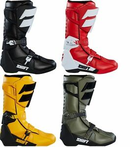 2018 Shift Racing Whit3 Label Boots Black Red Fatigue Green Yellow MX ATV Moto
