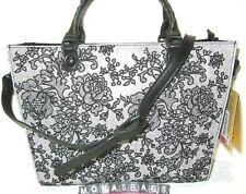Patricia Nash Zancona Black & White Chantilly Lace Top Zip Tote Bag NWT $299