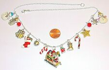 "CHRISTMAS CHARM NECKLACE-SANTA,SNOWMAN,SNOWFLAKE,BELL-HANDCRAFTED-20 ""-#882"