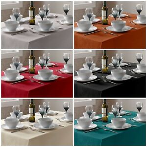 Select Plain Textured Easy Care Tablecloth Dining Kitchen Linen Look Tableware