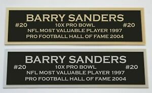 Barry Sanders nameplate for signed jersey football helmet or photo