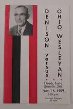Denison University vs Ohio Wesleyan Football 1959 Program J62928