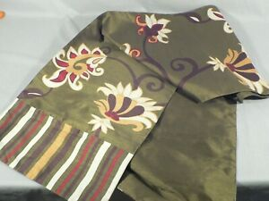 """Table runner floral pattern, Striped ends 14"""" x 70"""" Hemmed and Lined"""