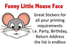 Funny Little Mouse Face PERSONALISED STICKY ADDRESS LABELS Craft & Gift STICKERS