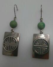 Handmade Sterling Silver Asian Japanese Inspired Pierced Earrings w/ Green Bead