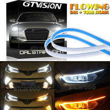 Super Slim 30cm LED Switchback Headlight Sequential DRL Strip Light White Yellow