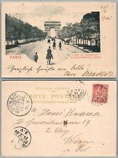 PARIS L'ARC DE TRIOMPHE FRANCE 1901 ANTIQUE POSTCARD w/ STAMP