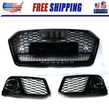 RSQ5 Front Honeycomb Mesh Grill + Fog Lamp Grilles For Audi Q5 SQ5 2018 2019