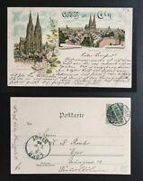 """AK Litho """"Gruss aus Köln"""" Panorama , der Dom 1898 gelaufen"""