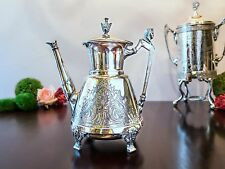 Antique Silverplate Egyptian Revival  Coffee Pot Sphinx Head Simpson Hall Miller