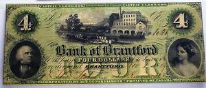 BANK OF BRANTFORD $4 - NOT REMAINDER - 1859, CANADA