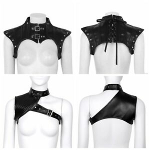 Black Women Goth Lingerie PU Leather Shoulder Harness Body Half Tank Top Bustier