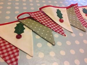 CHRISTMAS BUNTING holly handmade red gingham green spot vintage xmas decoration