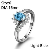 Oval Shape Silver Plated Women Sapphire Zircon Bride Wedding Ring Jewelry