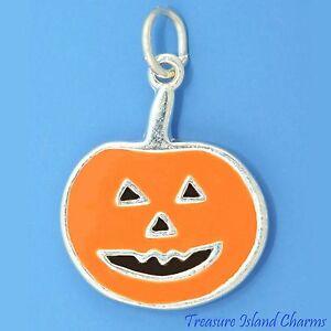 Enamel Jack-O-Lantern Halloween Orange Pumpkin 925 Sterling Silver Charm Pendant