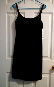 Hillard & Hanson Black Velvet Beaded Strap & Hem Shift Formal Dress Size 10 NWT