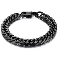 """Durable Black Stainless Steel 10mm Heavy Wide Mens Curb Link Chain Bracelet 8"""""""