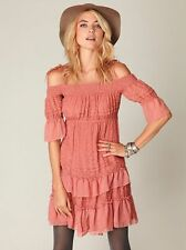 HTF! $148 FREE PEOPLE OFF THE SHOULDER TIERED RUFFLED DRESS Bohemian EEUC ~ S