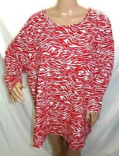 Fresh Women Plus Size 2x 3x Red White Animal Print Tee T Shirt Top Blouse