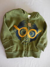 NWT Crazy 8 Green Monkey w/Glasses Zip Front Hoodie Jacket, 12-18 mos